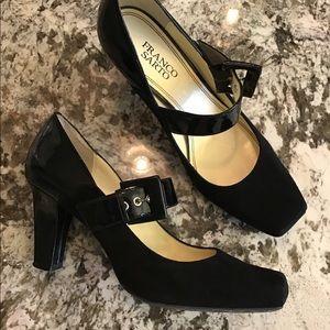 FRANCO SARTO tenor black suede maryjane heels 9.5